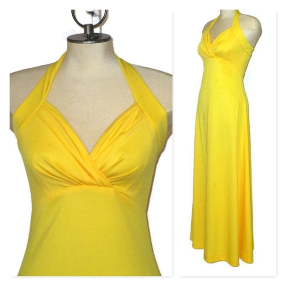 Vintage 1970s Yellow Halter Maxi Dress Long XS Small Retro Bright