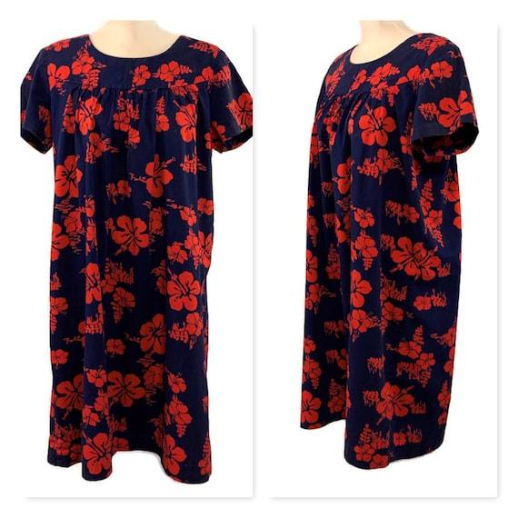 60s Floral Dress, Blue Red Muumuu, Vintage 1960s F