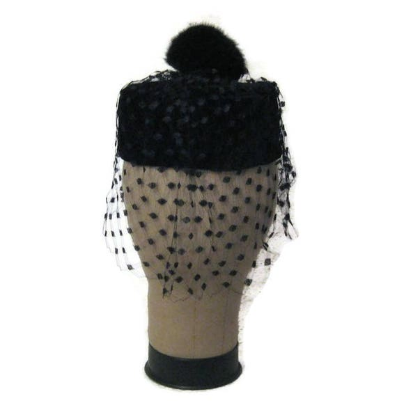 60s Velvet Hat, Black Velvet, Hat with Fur Pompom,