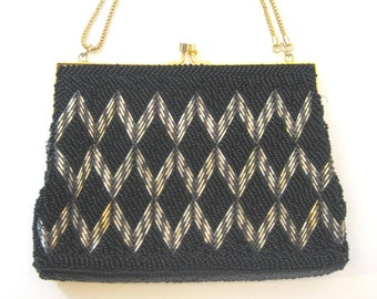 50s  Black Silver and Gold Beaded Evening Bag, Vintage 1950s Formal Glass Bead Purse