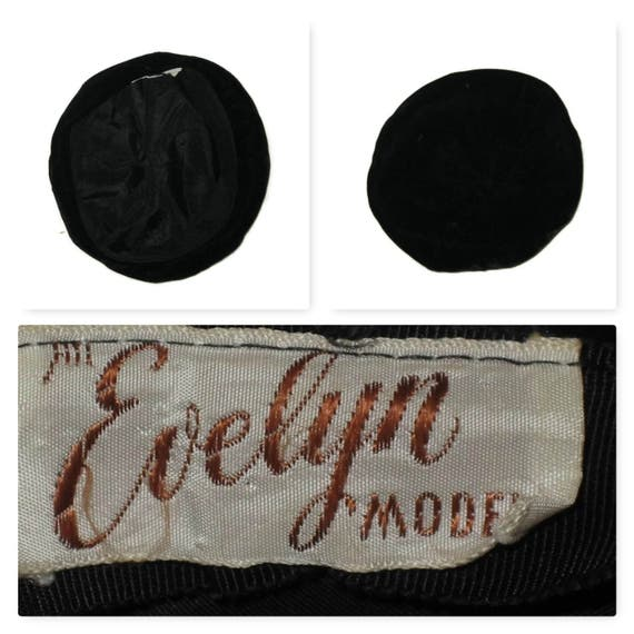 50s Black Beret Black Skull Cap Velvet Beanie 195… - image 5