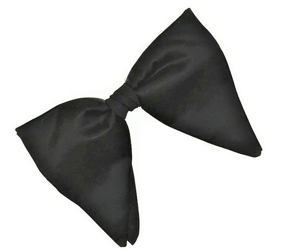 Vintage 1950s Black Big Butterfly Clip On Bow Tie,