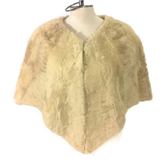 50s Cream Fur Cape, Short Fur Cape, Evening Caplet