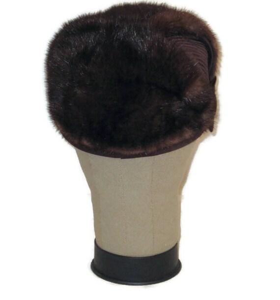 60s Fur Pillbox Hat, Fur Satin Hat, Brown Fur Hat… - image 3