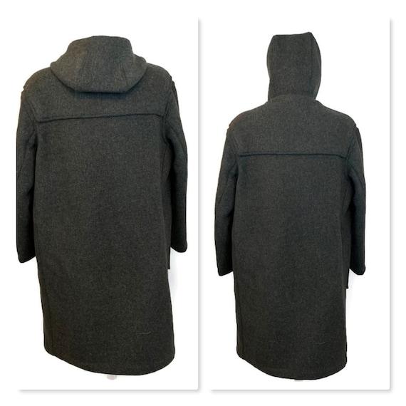 Vintage 70s Charcoal Grey Duffle Coat, 1970s Hood… - image 9