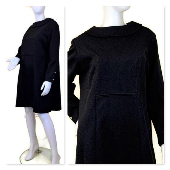 Vintage 60s Long Sleeve Black Trapeze Dress, 1960s