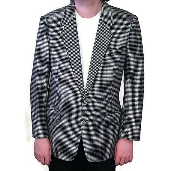 80 s veste de sport, veste pied de poule, de vison Sable Cachemire, pied de poule, poule Blazer, Blazer homme des années 1980, pied de poule blanc noir, adapté veste 1a77d7