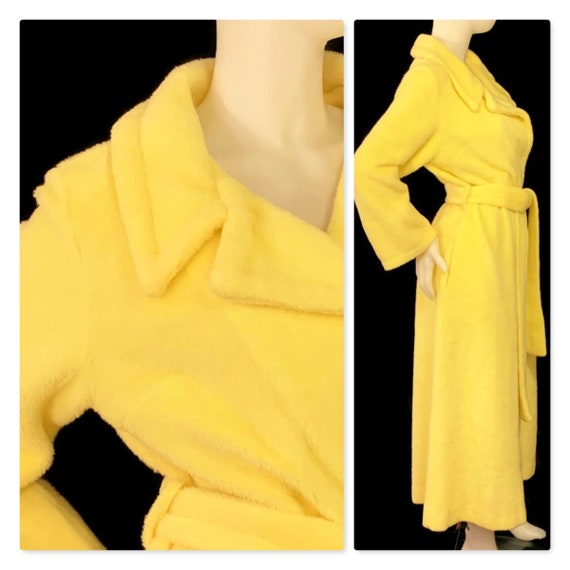 60s Fuzzy Yellow Dressing Gown, Vintage 1960s Robe