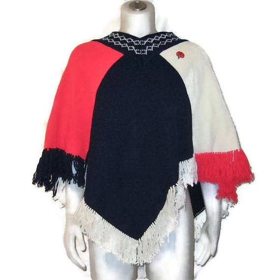 70s Knit Poncho, Red White Blue Poncho,1970s Vinta