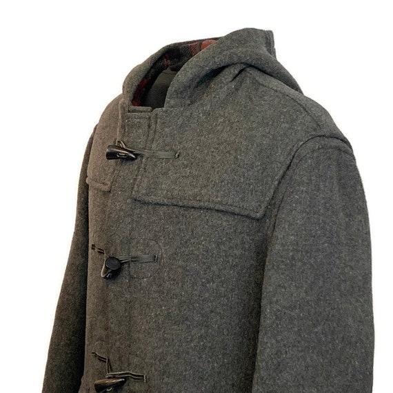 Vintage 70s Charcoal Grey Duffle Coat, 1970s Hood… - image 7