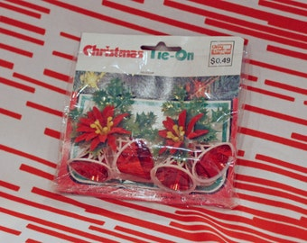 Christmas Plastic Bells with Red Foil and Poinsettias Present Tie Ons