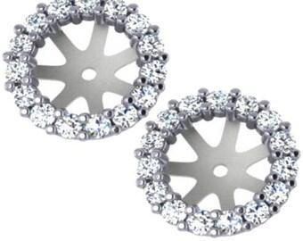 Diamond Jackets Diamond Earring Jackets for Studs SI .72CT Diamond Earring Studs Halo Jackets 14 Kt Fit 1.25CT Diamonds 6.5-7MM