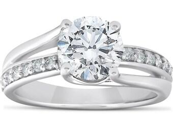 adaf3a76b080 Diamond Engagement Ring 2.25Ct Round Genuine Diamond Engagement Ring 14k  White Gold Clarity Enhanced