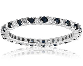 7b37ac75c Blue Sapphire Diamond Eternity Ring Anniversary Thin Band 1/2ct Blue  Sapphire Diamond Wedding Band Stackable Eternity Ring 14k White Gold