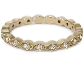 1/3CT Stackable Diamond Wedding Eternity Ring 14K Yellow Gold
