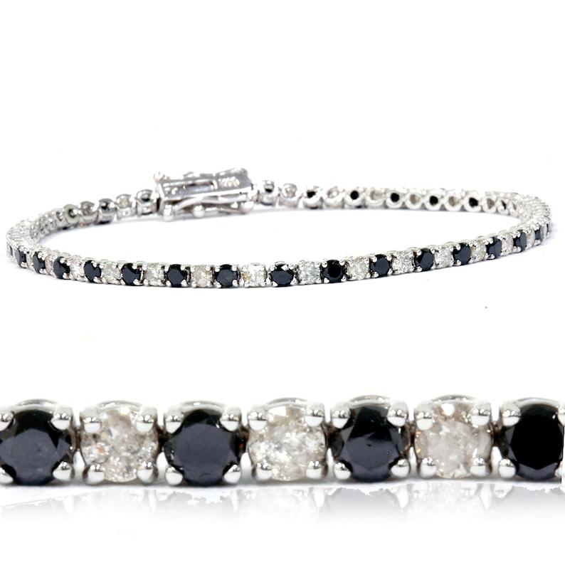 1af79c2223a9 300 CT diamante negro tenis pulsera 14K oro blanco 7