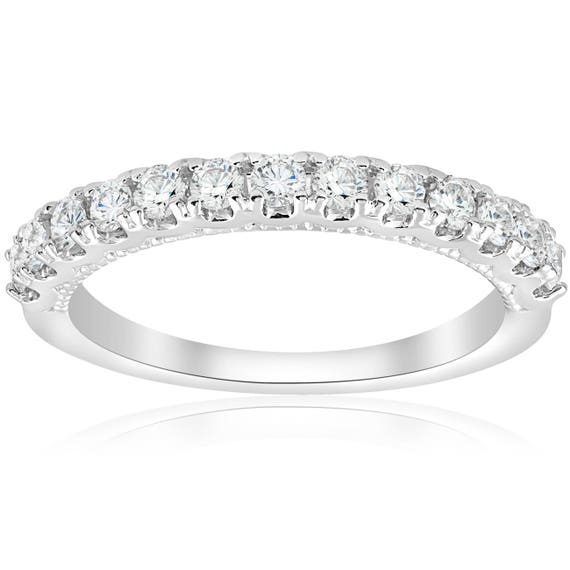 1//2ct Vintage Diamond Wedding Ring 14K White Gold Womens Art Deco Stackable Band