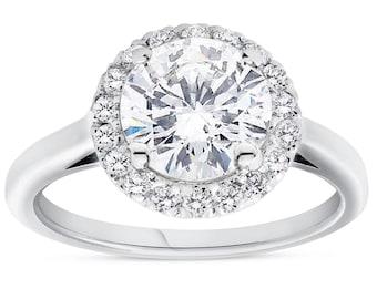 1 3/4ct Halo Plain Shank Diamond Engagement Ring 14k White Gold ((G-H), SI(1)-SI(2)