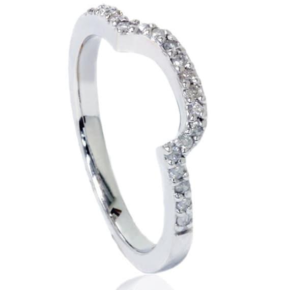 1//4ct Curved Diamond Notched Wedding Ring Enhancer 14K