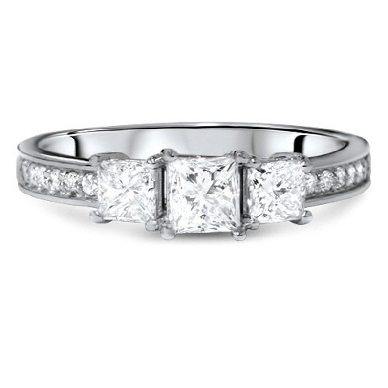 Engagement & Wedding Jewelry & Watches 2019 Latest Design 2.40 Ct Princess Cut Three-stone Engagement Ring 14k White Gold