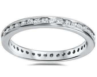 Stackable Diamond Ring, Diamond Eternity Ring, Diamond Wedding Ring 1/2 cttw Diamond Eternity Ring 14 KT White or Yellow Gold Size (4-9)