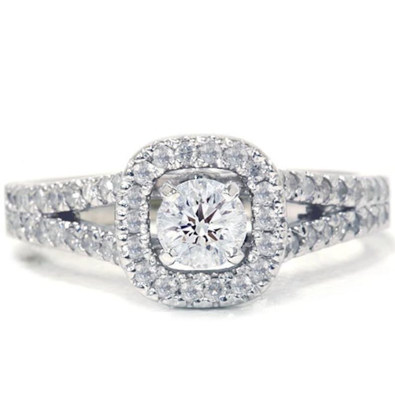 8c34e83a83c8 Engagement Ring Diamond Pave .90ct Halo Diamond Engagement