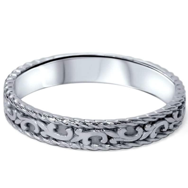 Hand Braided Wedding Band 14K White Gold 4MM