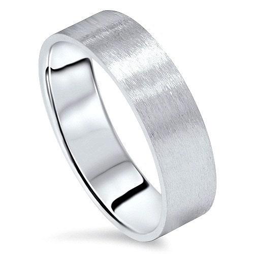 Wedding Band 10k White Gold 6mm: 6MM Flat Brushed Satin Mens Wedding Band Ring 10K White