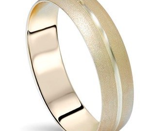 6MM 14K Yellow Gold Mens Sandblast Wedding Band Ring Size 4-12