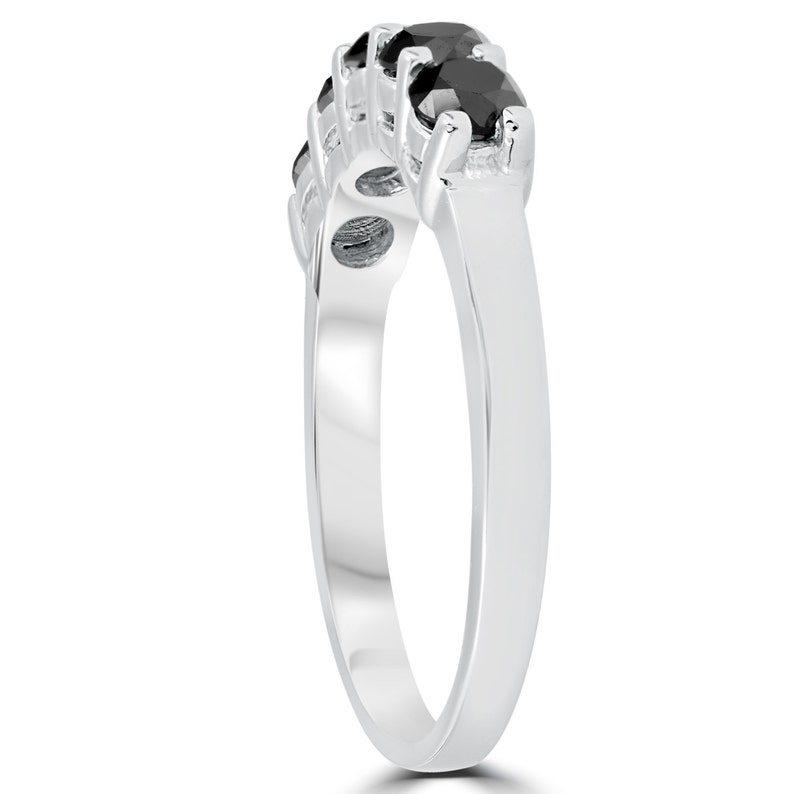 1ct Five Stone Black Diamond Wedding Ring 14K White Gold Black,