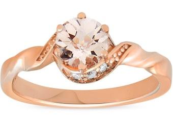 3/4 ct Diamond & Morganite 14k Rose Gold Solitaire Twist Band Engagement Ring (H/I, I2-I3)