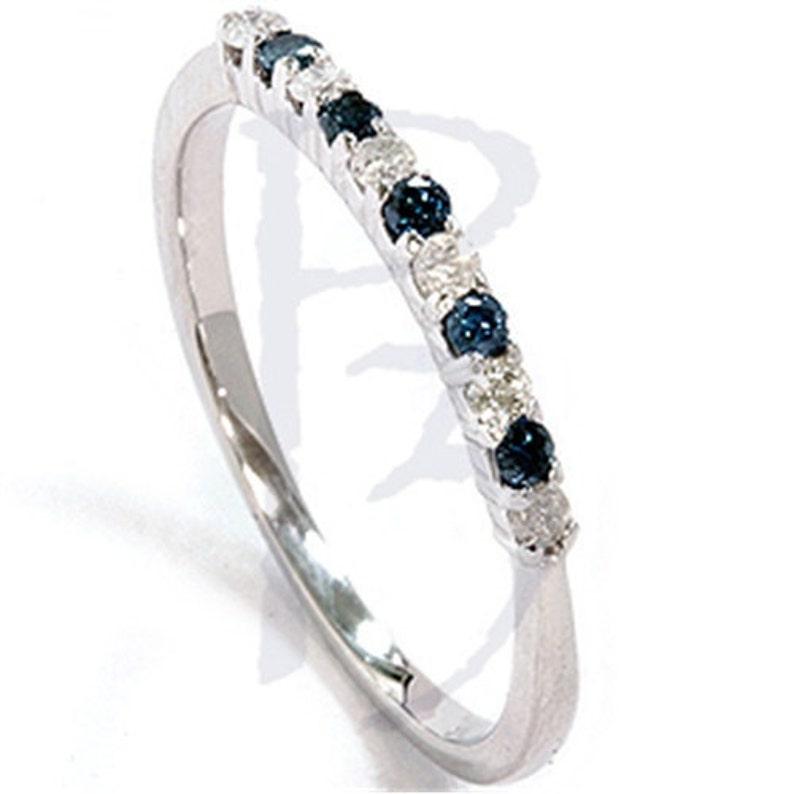 0d80d1f8335e 25CT azul   blanco diamante anillo aniversario 14K oro blanco