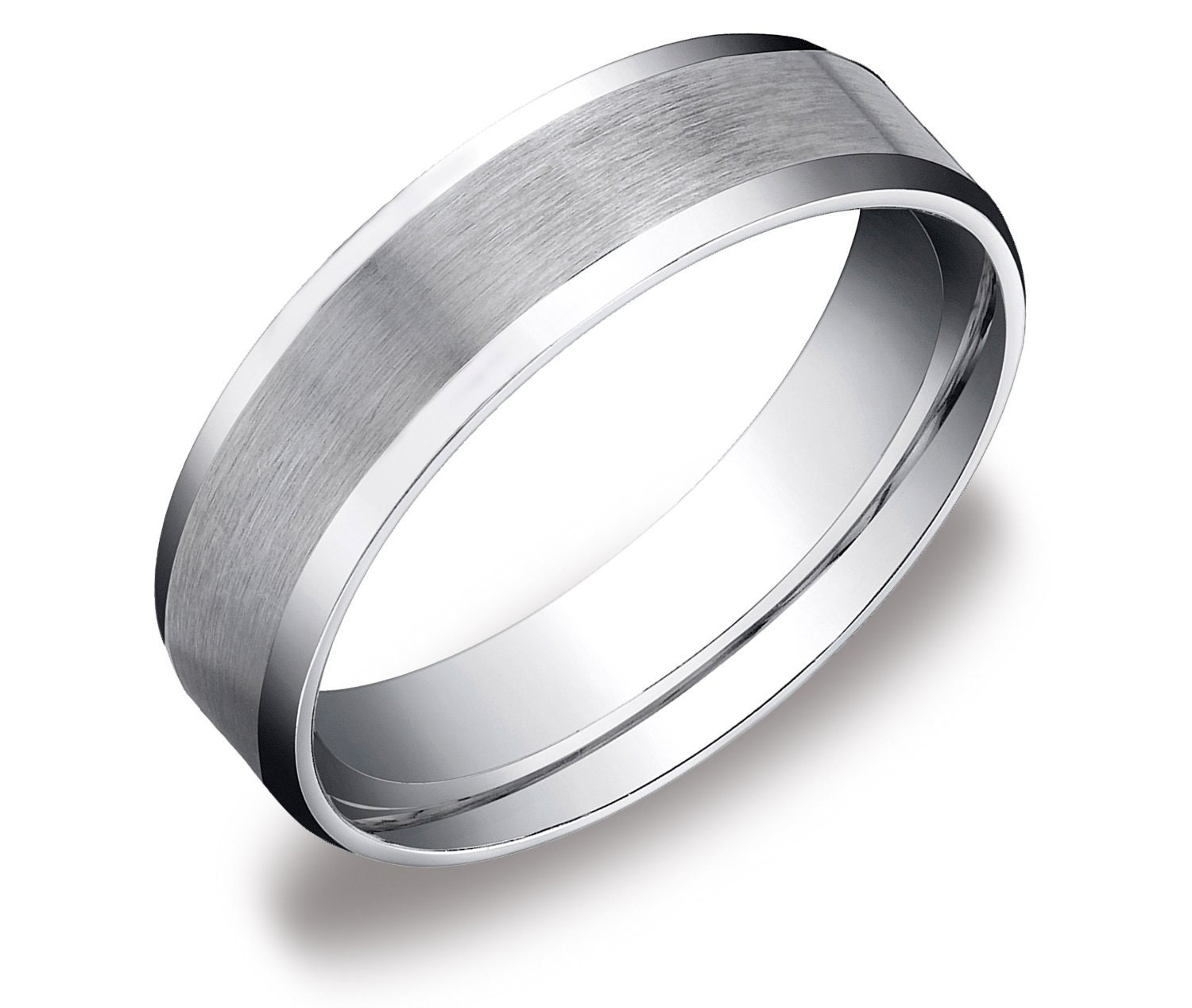 Mens Platinum Brushed Wedding Ring Comfort Fit Band 6mm Mens Etsy