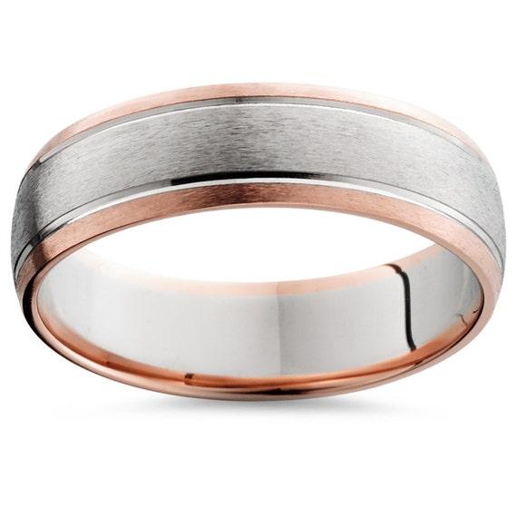 Rose Gold Wedding Ring Rose Gold Wedding Band 2 Tone Rose Etsy
