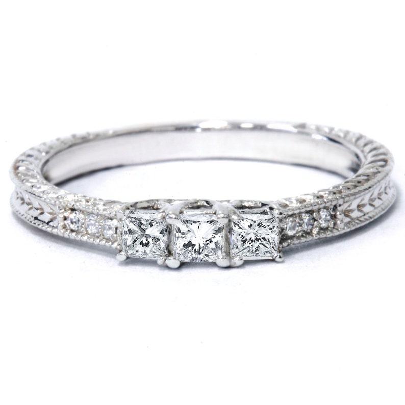 a97f88f51 1/4CT Princess Cut Diamond 3 Stone Engagement Ring Vintage | Etsy