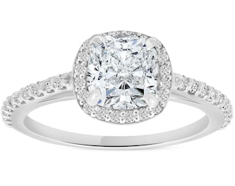 1 3/4CT Cushion Diamond Halo Engagement Ring 14K White Gold ((G-H), SI(1)-SI(2))