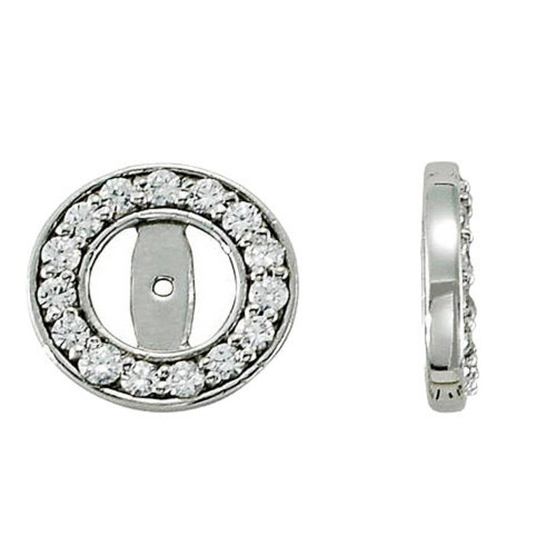 GSI .55ct Halo Round Diamond Studs Earring Jackets 14k White Gold Fits 14T 3.5-4MM