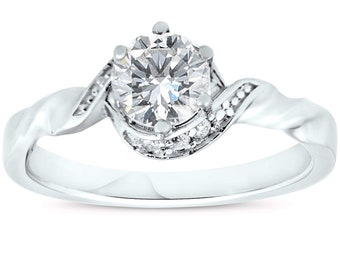 5/8ct Diamond Halo Solitaire Twist Band Engagement Ring 14k White Gold ((G-H), SI(1)-SI(2))