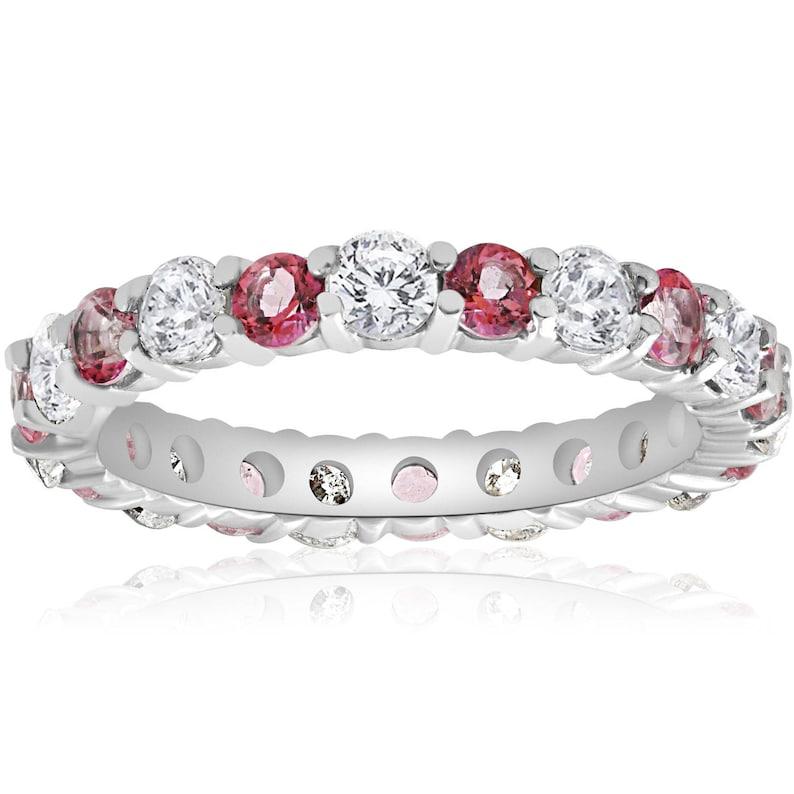 ccea72b4e9e0 Diamante anillo de eternidad eternidad anillo de Topacio rosa