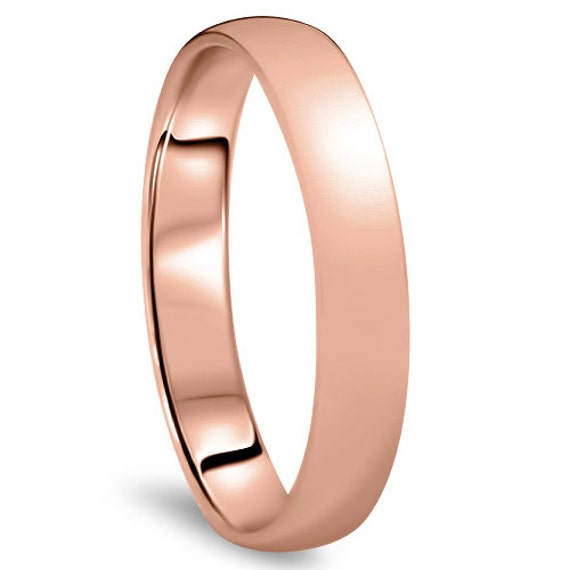 Real 14k Solid Yellow Gold  plain Wedding band 3-4mm size 4-10 high polished