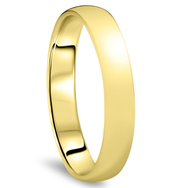 Yellow Gold Wedding Band Womens 14K 4MM Dome High Polished Plain Anniversary Ring Size 4-10 Gold Plain Band Gold Ring Yellow Gold Ring