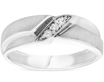 Mens 1/10ct White Gold Diamond Ring Contour Brushed Three Stone Wedding Band (H/I, I1-I2)