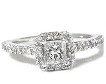 Princess Cut Pave Halo Diamond Engagement Ring 14K White Gold 1.12 Carat Size (4-10)