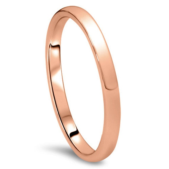Plain Wedding Band Mens and Womens 14k Rose Gold 3mm Wide High Dome
