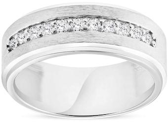 Mens 3/8ct White Gold Diamond 10k Brushed Wedding 8MM Anniversary Band (H/I, I1-I2)