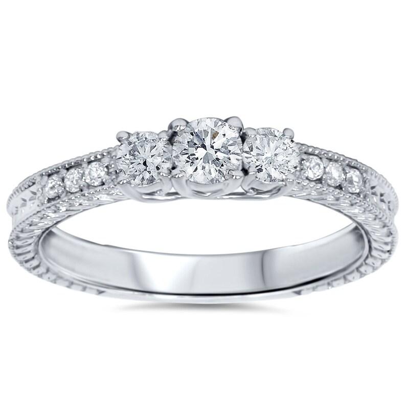 828d71f7c0b5 Tres piedra Vintage diamante anillo de compromiso Ct 3 1 2