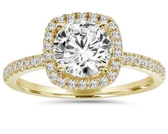 2.00CT Diamond Cushion Halo Engagement Ring 14K Yellow Gold
