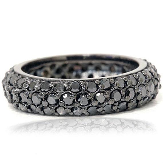 Pave Black Diamond Eternity RIng 14K Black Gold Womens Wedding  03ba49c6c