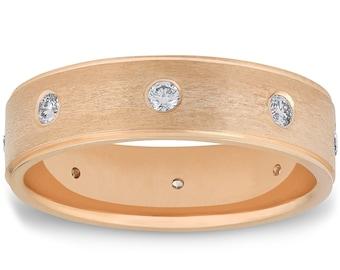 Yellow Gold Diamond Ring Mens Wedding Band 14k 6MM Brushed Diamond Anniversary Wedding Band