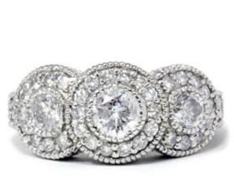 Antique 1.50CT Diamond 3 Stone Engagement 14K White Gold Ring Sizes 4-9